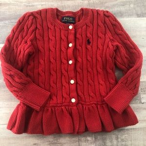 POLO Ralph Lauren size 2T red cable cardigan